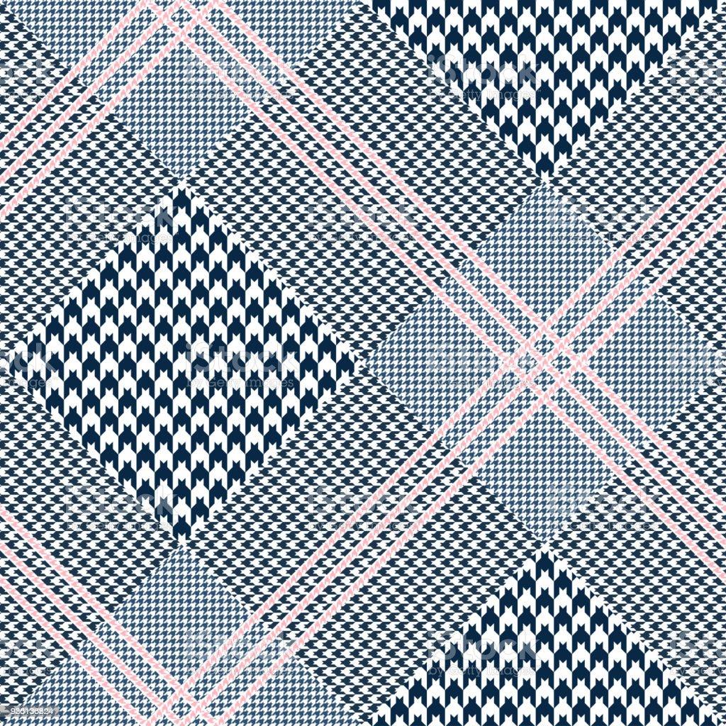 Patrón de tela escocesa glen inconsútil. Paleta de colores: azul marino oscurezca y blanco con rosa overcheck. Textura del clásico Príncipe de Gales. - ilustración de arte vectorial