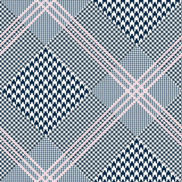 seamless glen plaid pattern. color palette: dark navy blue and white with pink overcheck. classic prince of wales texture. - preppy fashion stock illustrations, clip art, cartoons, & icons