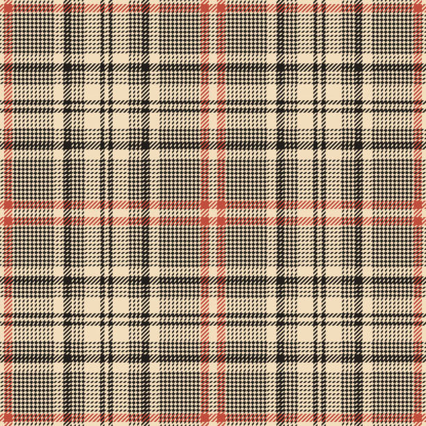 Seamless glen plaid pattern. Tweed check plaid abstract tartan plaid background texture in nearly black, luxury gold, and coral red for jacket, skirt, trousers, or other modern autumn textile design. Seamless glen plaid pattern. Tweed check plaid abstract tartan plaid background texture in nearly black, luxury gold, and coral red for jacket, skirt, trousers, or other modern autumn textile design. tartan pattern stock illustrations