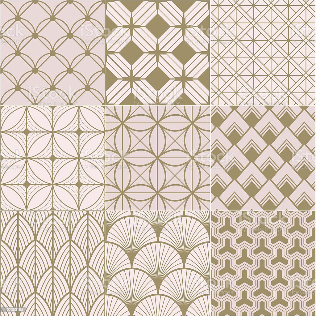 seamless gold and pink geometric pattern vector art illustration