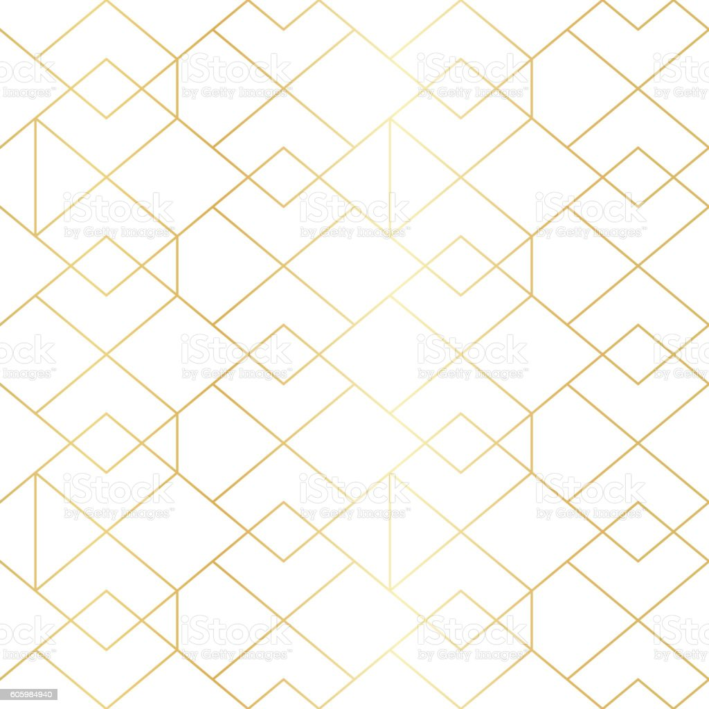 seamless gold geometric pattern with line rhombus stock