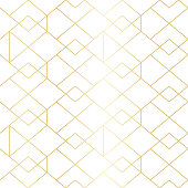 Seamless gold geometric pattern with line rhombus