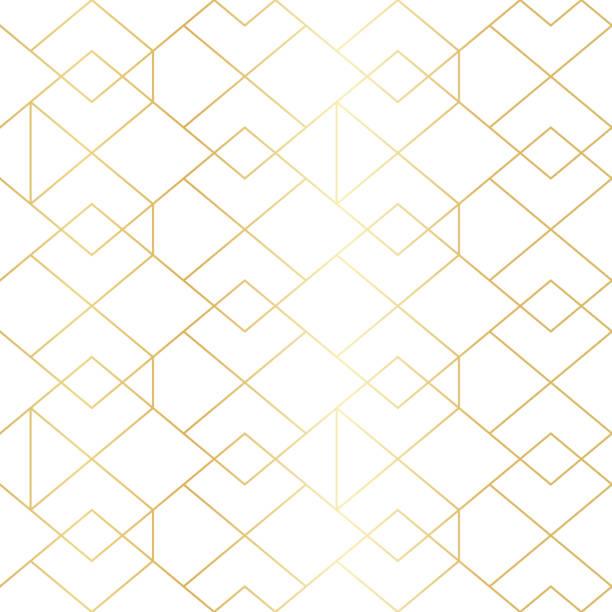 seamless gold geometric pattern with line rhombus - elegance stock illustrations, clip art, cartoons, & icons