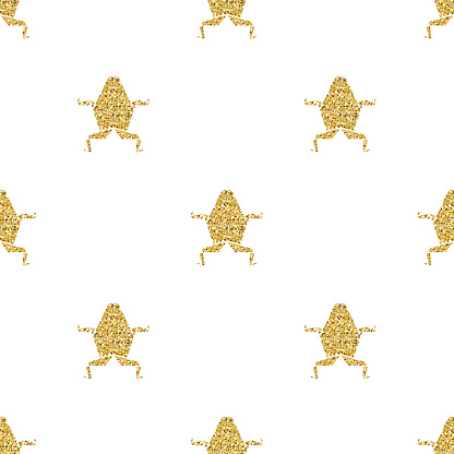seamless gold glitter frog origami pattern background