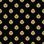 seamless  gold glitter isometric square symmetry pattern on black background