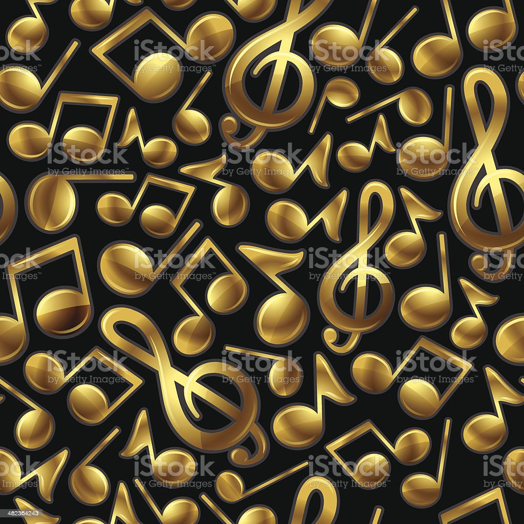 Seamless Gold Music Background royalty-free stock vector art