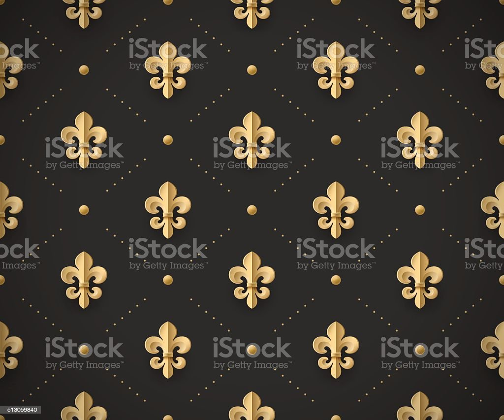 Seamless gold pattern with fleur-de-lys on a dark vector art illustration