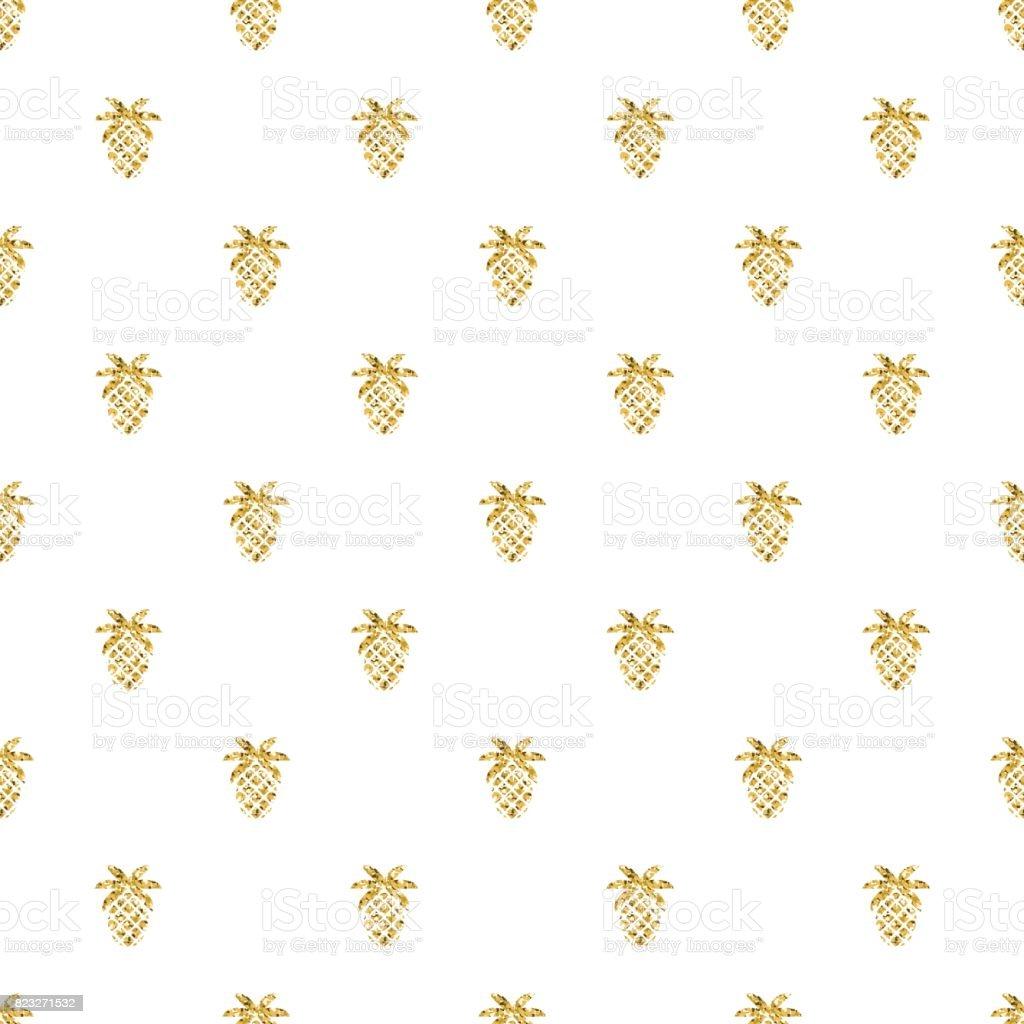Seamless Gold Pineapple Glitter Pattern On White Background Stock
