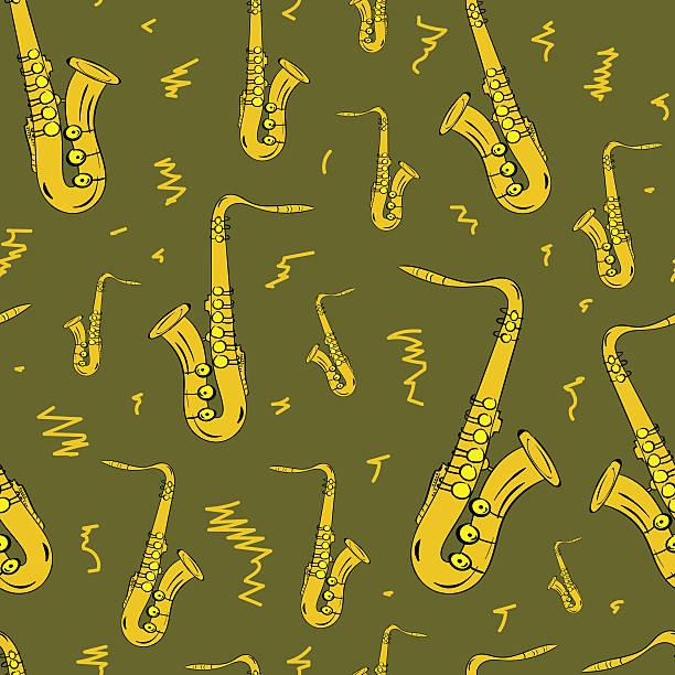 stockillustraties, clipart, cartoons en iconen met seamless gold saxophones - tenor