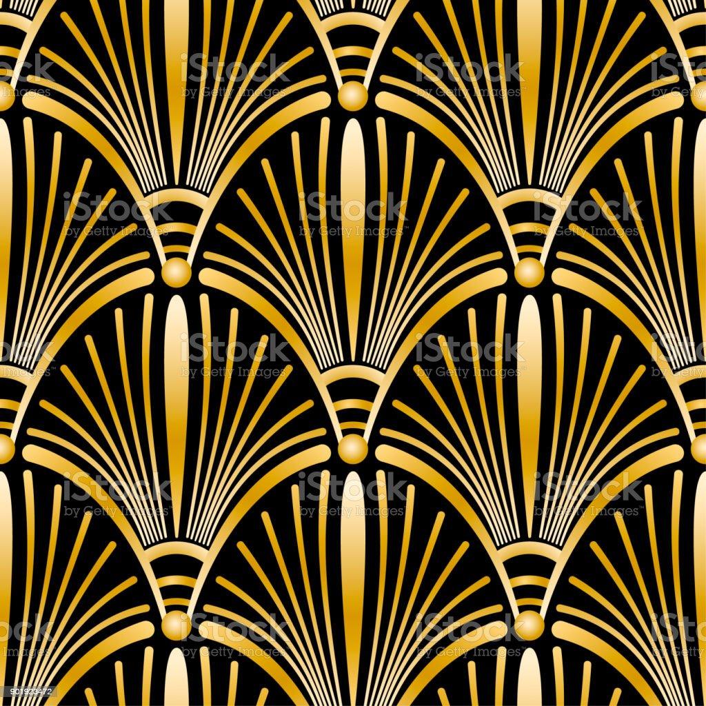 Sem costura padrão ouro Art Deco com conchas abstratas. Cenário da moda vector em estilo vintage. - ilustração de arte em vetor