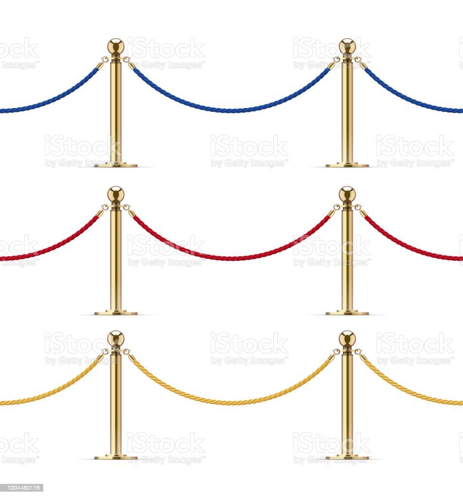 Nahtlose Goldene Schranke Mit Seil Für Vippräsentation Stock Vektor