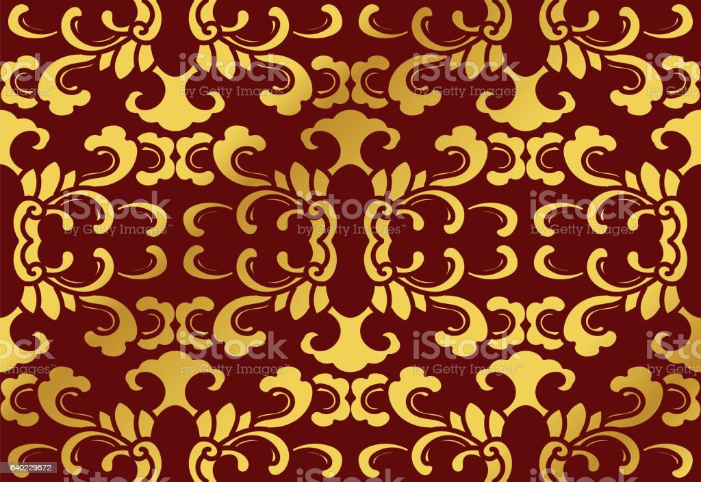 Seamless Golden Chinese Background Botanic Curve Spiral Cross Leaf - ilustración de arte vectorial