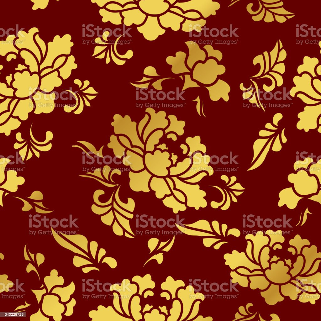 Seamless Golden Chinese Background Botanic Garden Flower Blossom - ilustración de arte vectorial