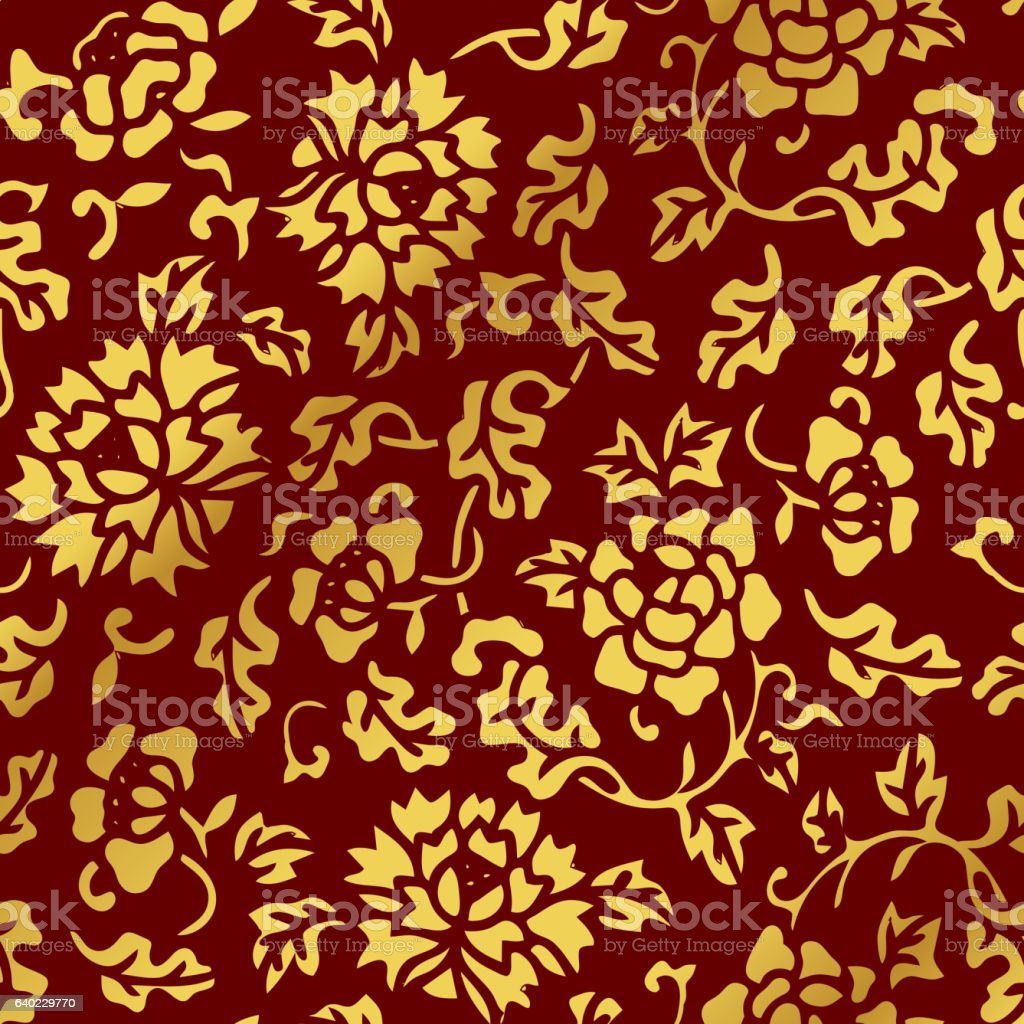 Seamless Golden Chinese Background Botanic Garden Flower Leaf - ilustración de arte vectorial