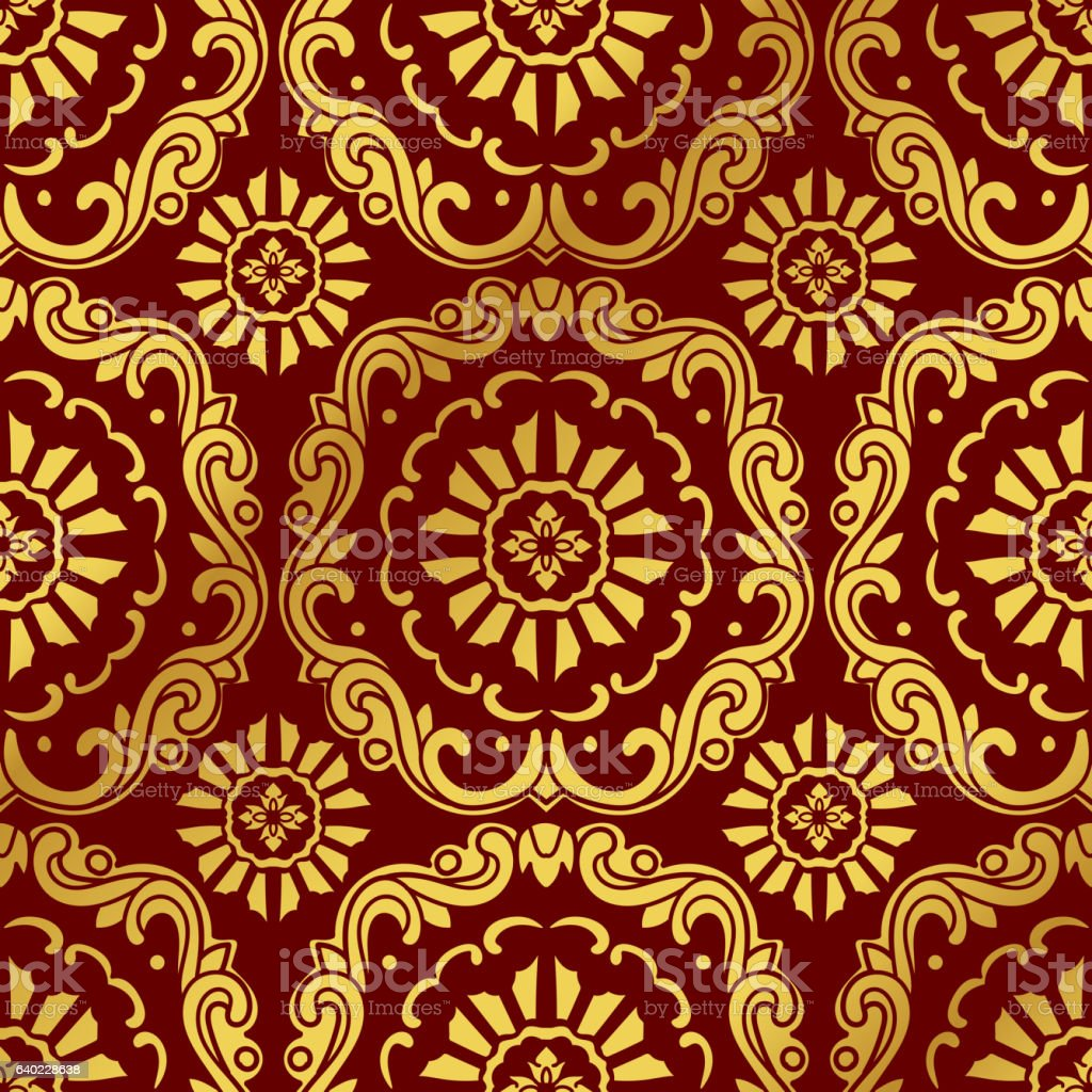 Seamless Golden Chinese Background Botanic Spiral Curve Cross Flower - ilustración de arte vectorial