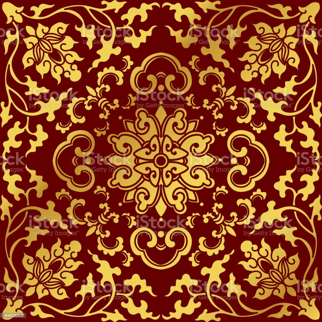 Seamless Golden Chinese Background Botanic Spiral Vine Cross Flower - ilustración de arte vectorial