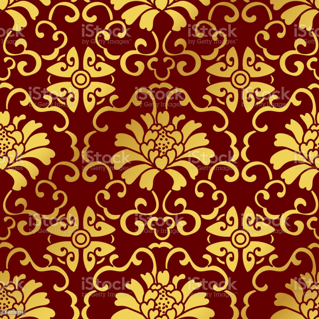 Seamless Golden Chinese Background Botanic Spiral Vine Flower - ilustración de arte vectorial