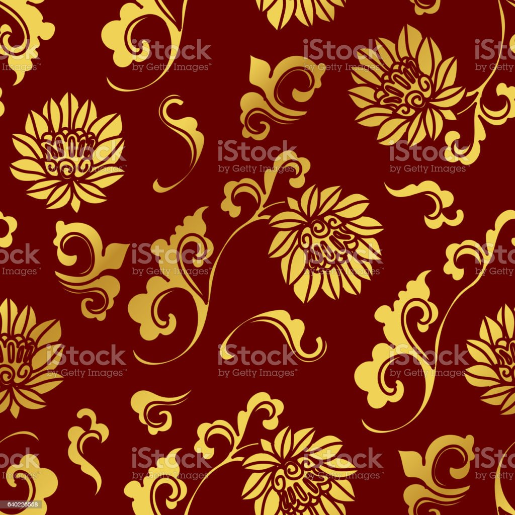 Seamless Golden Chinese Background Curve Spiral Botanic Flower - ilustración de arte vectorial
