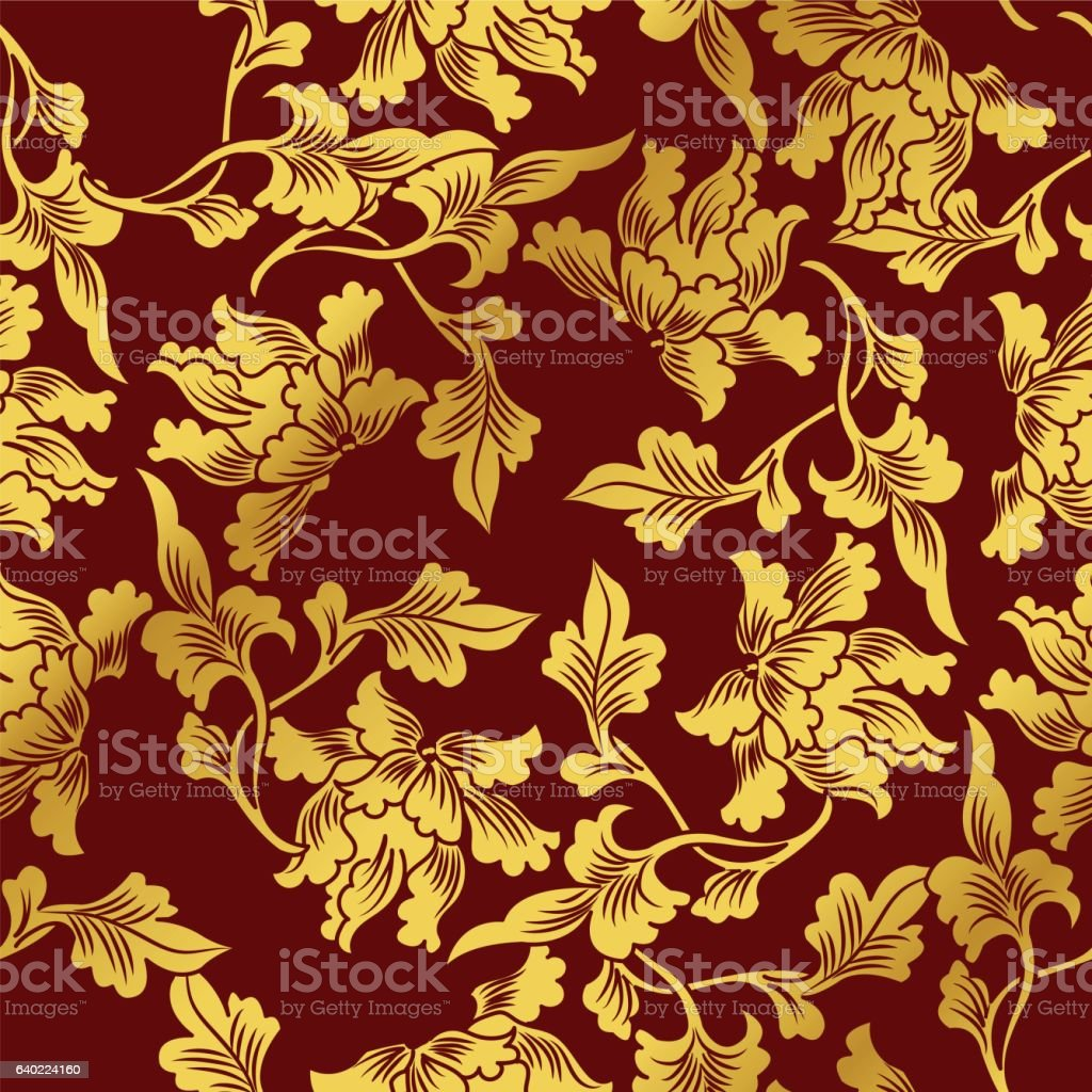 Seamless Golden Chinese Background Nature Botanic Leaf - ilustración de arte vectorial