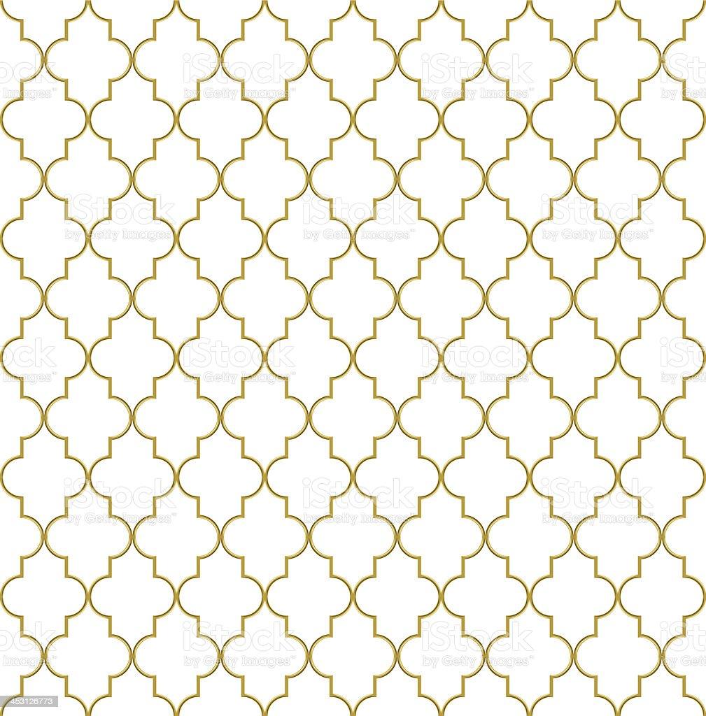 Seamless golden oriental grille vector art illustration