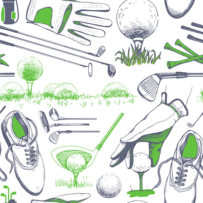 Seamless golf pattern with basket, shoes, car, putter, ball, gloves, flag, bag. Vector set of hand-drawn sports equipment. Illustration in sketch style on white background.