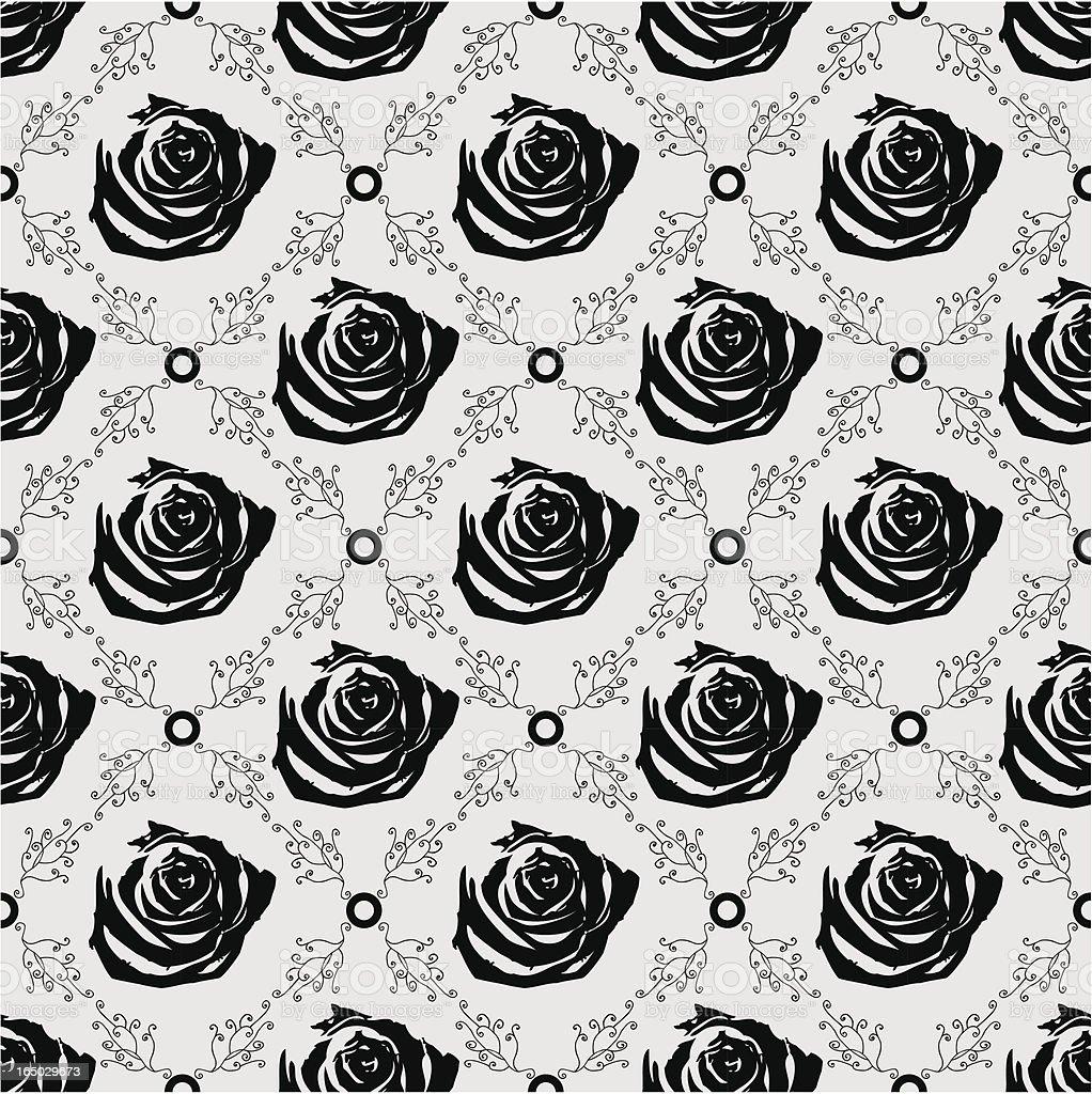 Seamless Gothic Rose Background ( Vector ) vector art illustration
