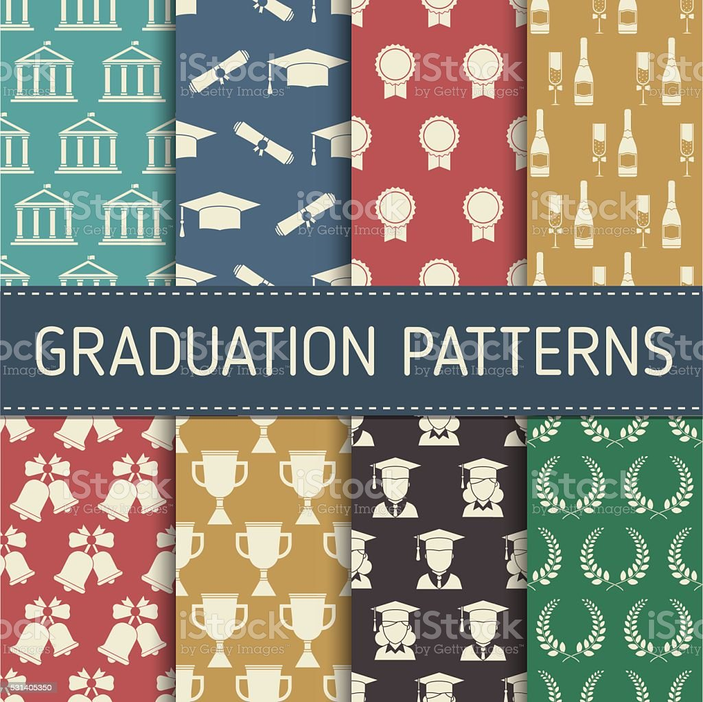 Patrón sin costuras fondo de graduación de celebración - ilustración de arte vectorial