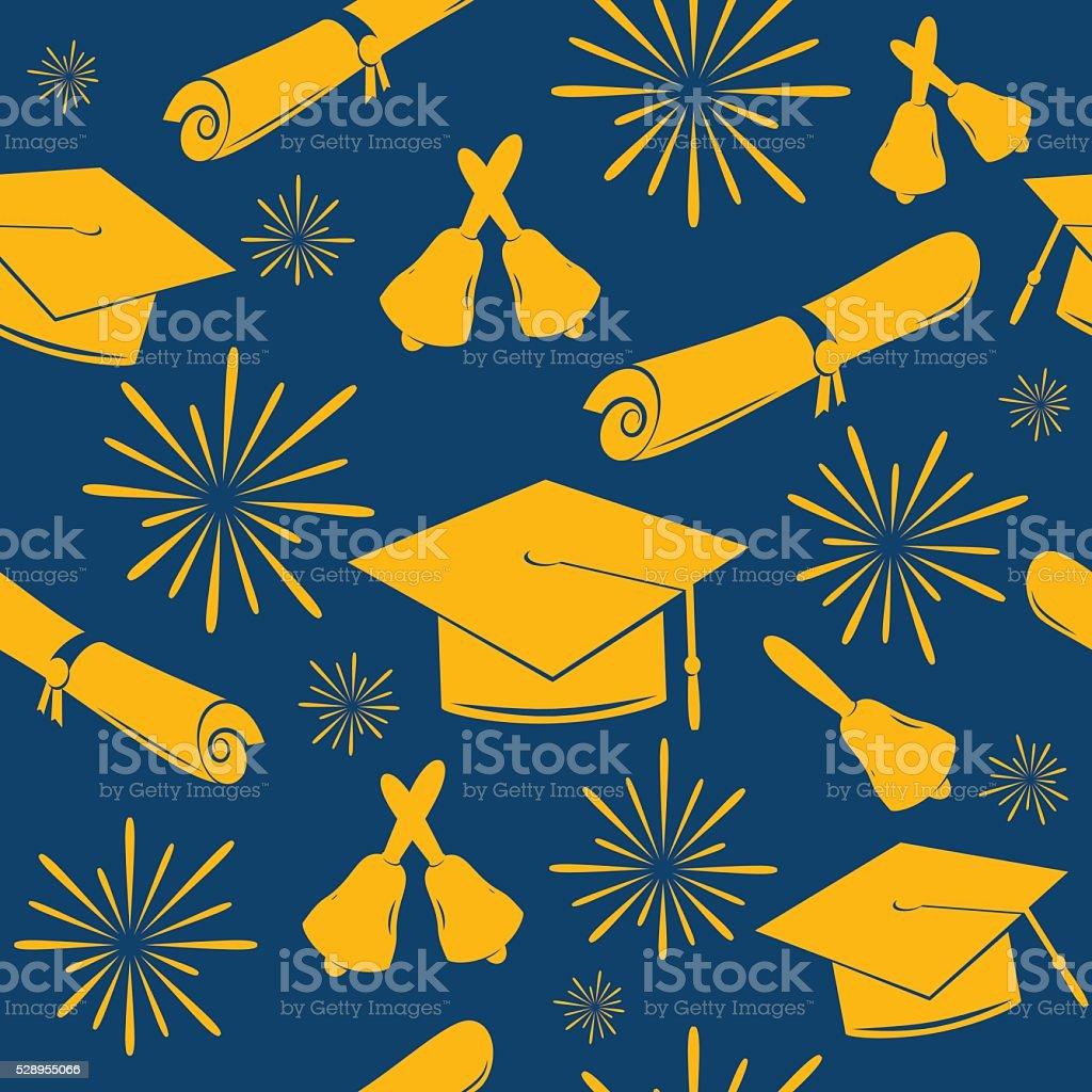 Graduaciones sin costuras fondo de graduación de tapas, campanas y títulos. Graduado - ilustración de arte vectorial