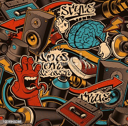Seamless Graffiti background. Colourful seamless pattern with doodle art.