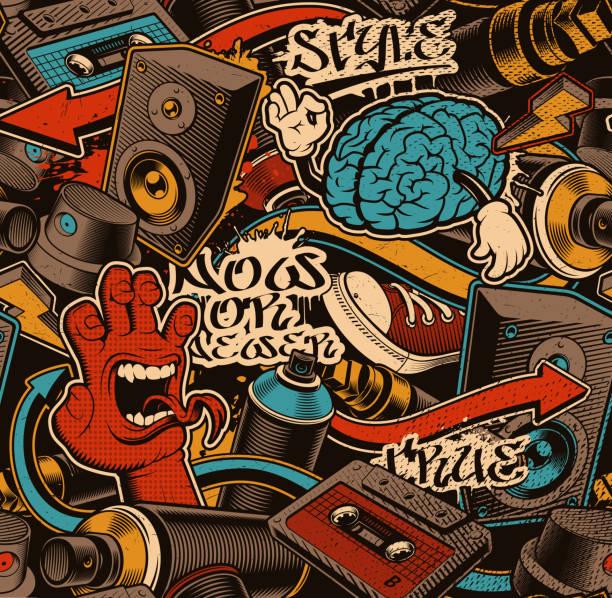 illustrazioni stock, clip art, cartoni animati e icone di tendenza di seamless graffiti background. - skate