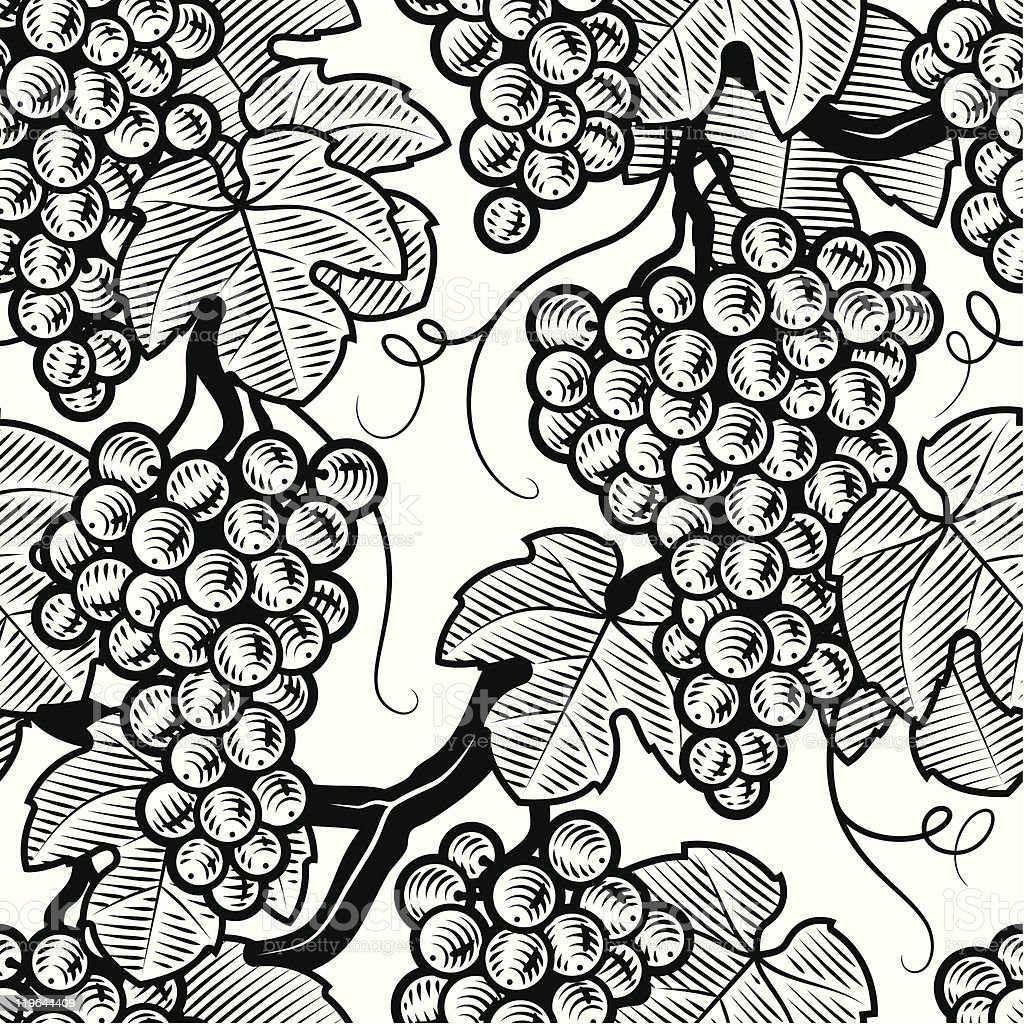 Seamless grape background black and white vector art illustration