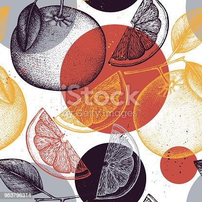 Citrus seamless pattern. Pomelo background. Vector grapefruit illustration. Summer fruits drawing for logo, icon, label, packaging design.