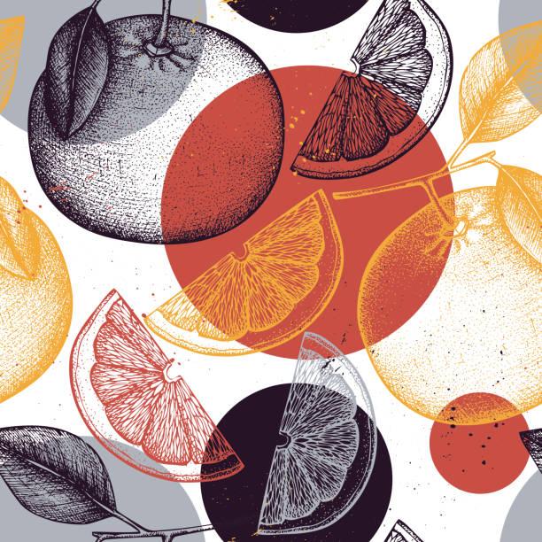 Seamless grapefruit pattern Citrus seamless pattern. Pomelo background. Vector grapefruit illustration. Summer fruits drawing for logo, icon, label, packaging design. fruit designs stock illustrations