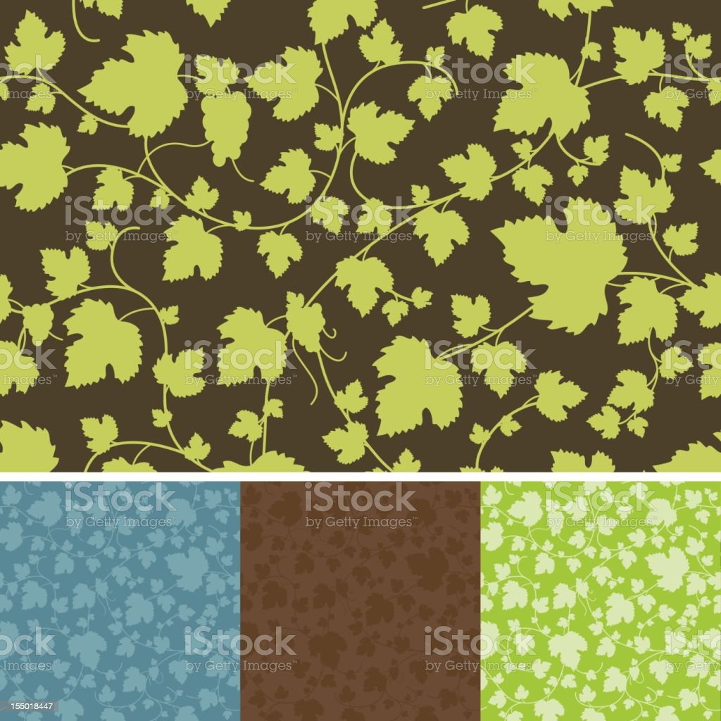 Seamless Grapevine Pattern vector art illustration