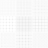 Set of graph paper. Lines and dots, dotted grid paper, dashed lines. Grid seamless patterns. Vector geometric backgrounds. One color - gray.