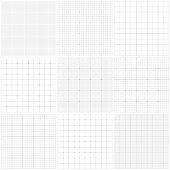 Set of graph paper. Lines and dots. Grid seamless patterns. Vector geometric backgrounds. One color - gray.