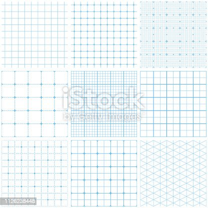 Set of graph paper. Lines and dots, dotted grid paper, dashed lines. Grid seamless patterns. Light blue vector geometric backgrounds. Seamless texture patterns.