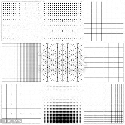 Set of graph paper. Vector seamless patterns.