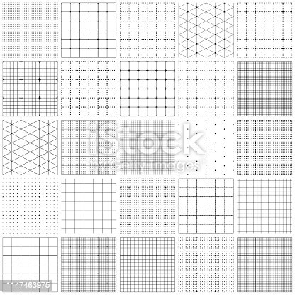 Set of graph paper. Lines and dots, dotted grid paper, dashed lines. Grid seamless patterns. Vector geometric backgrounds. One color - black.