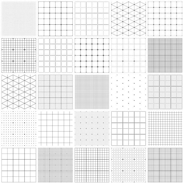 Seamless graph paper Set of graph paper. Lines and dots, dotted grid paper, dashed lines. Grid seamless patterns. Vector geometric backgrounds. One color - black. square composition stock illustrations