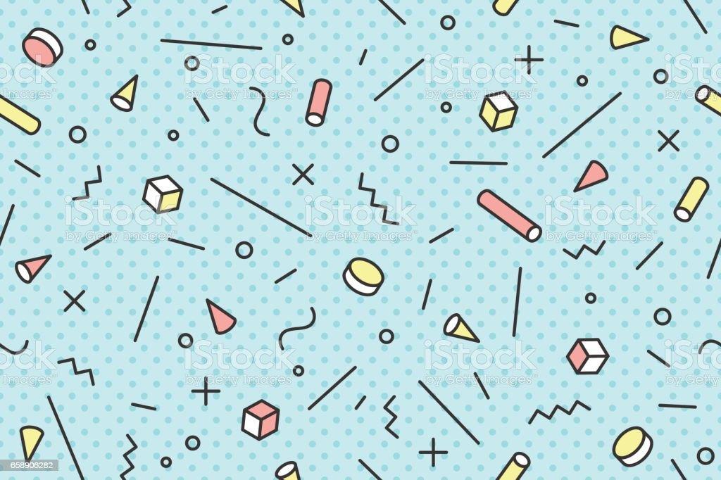 Seamless graphic pattern 80s-90s trendy styles vector art illustration