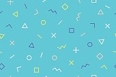 Seamless graphic pattern 90s trendy style on blue background. Colorful pattern with different shapes objects. Design for wrapping paper, fabric background, wallpaper. Vector illustration