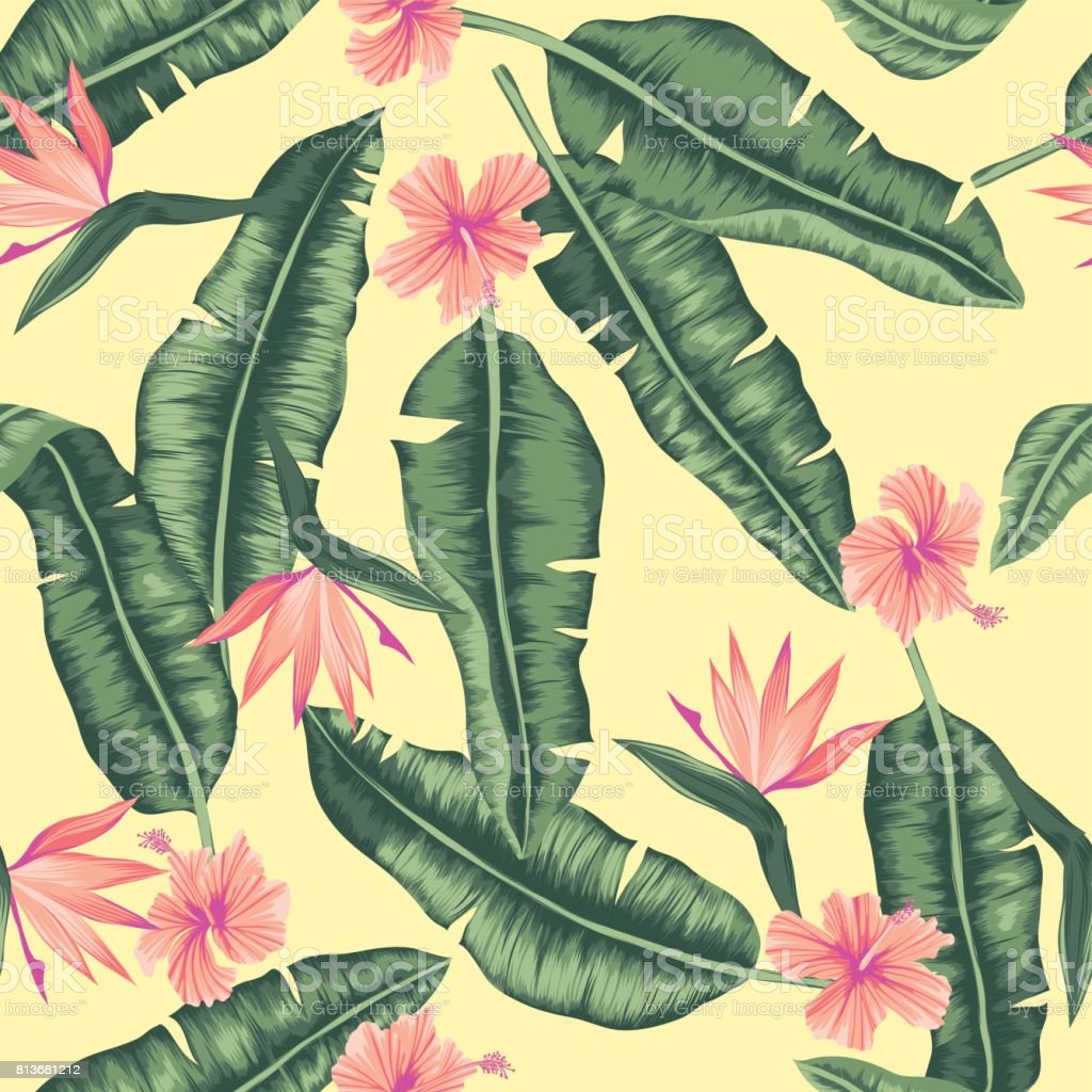 seamless graphical banana leaves with flowers pattern vector art illustration
