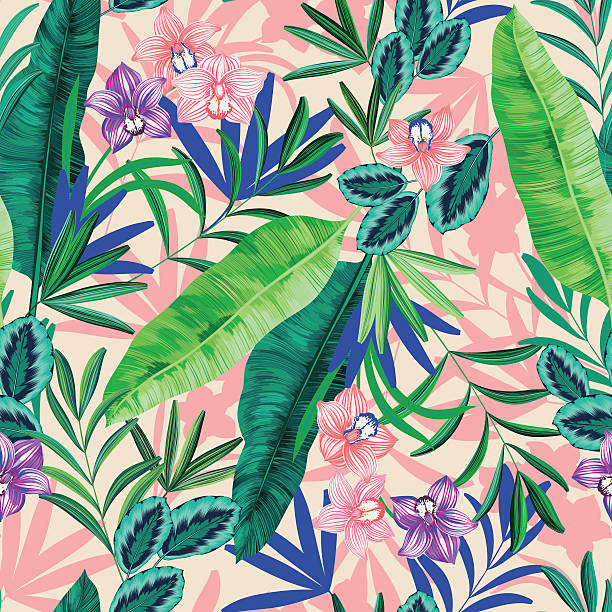 seamless graphical realistic bright tropical nature with flowers pattern vector art illustration