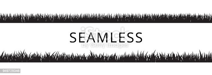 Seamless grass borders silhouettes set. Isolated vector Illustration