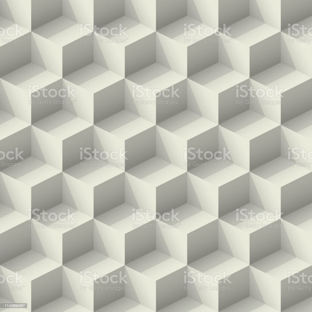 Seamless Gray Abstract Pattern Isometric Cubes With Light And