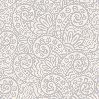 Seamless gray and white paisley pattern