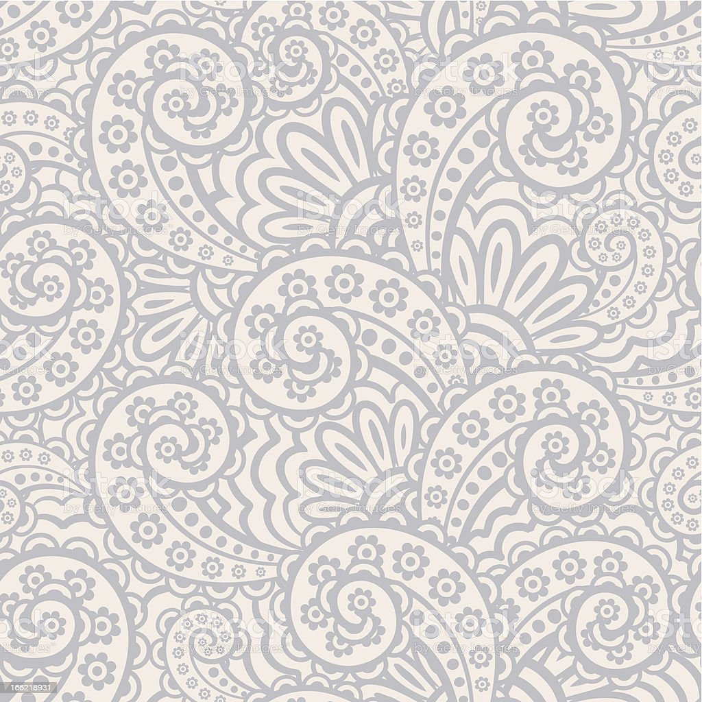 Seamless gray and white paisley pattern vector art illustration