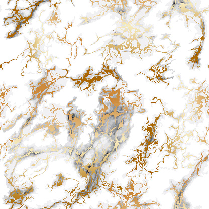 Seamless Gray Marble Pattern With Gold Veins Luxury Stone