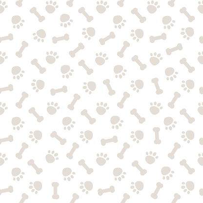 Seamless gray pattern with dog paws and bones